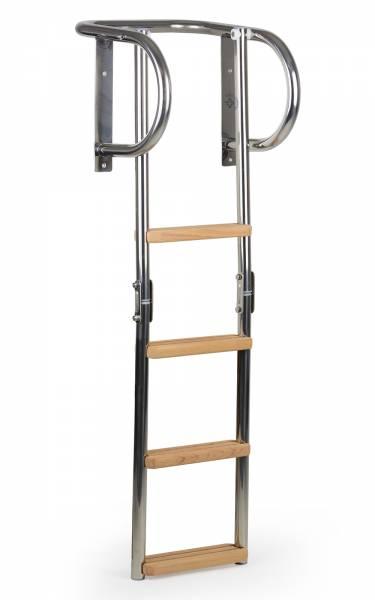 Badeleiter Bootsleiter 4 Stufen klappbar Edelstahl / Holz Bild 1