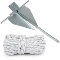 Plattenanker / Danforth Anker 4 kg Stahl verzinkt + Ankerleine 30 m