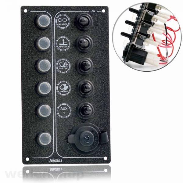 Schalttafel Boot Schaltpanel 12V mit 5 Schalter / 1 Zigarettenanzünder Bild 1