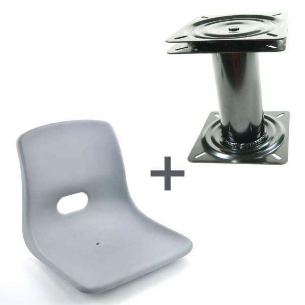 Bootssitz Steuersitz Kunststoff grau + drehbare Sitzkonsole Höhe: 350 mm Bild 1