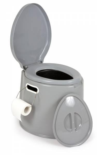 Campingtoilette 7 Liter Kunststoff grau integrierter Toilettenpapier-Halter Bild 1