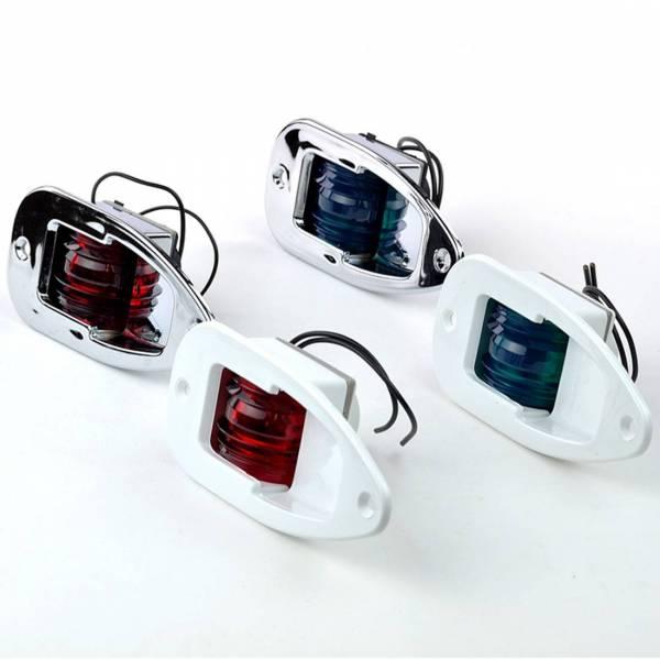 Backbord Positionslicht, Einbau Positionsleuchte, 12 Volt, Kunststoff Weiß Leuchtfarbe Rot