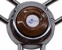 Edelstahl Steuerrad de luxe 350 mm, Mahagoni, Schwarz, Weiß, Grau
