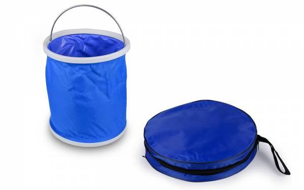 Faltbarer Eimer 9 Liter blau Outdoor mit Tasche