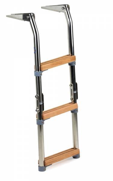 Badeleiter f. Boot klappbar 3 Stufen Holz Edelstahl für Badeplattform Bild 1