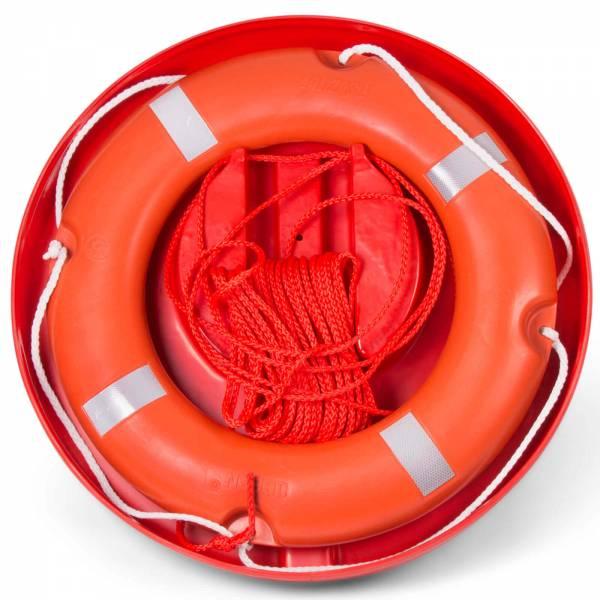 Rettungsring mit Rettungsleine und Hülle Kunststoff Orange mit Reflexstreifen Bild 1