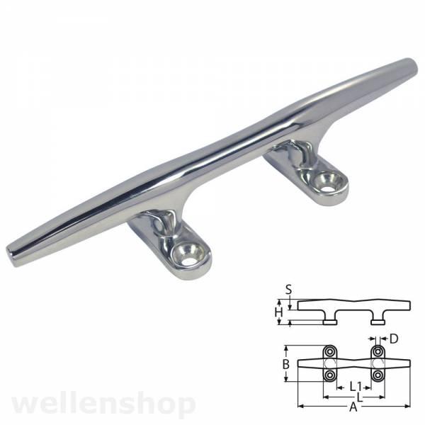 Festmacher-Klampe Edelstahl Länge 150 mm Rostfrei Poliert Hollow-Cleat Bild 1