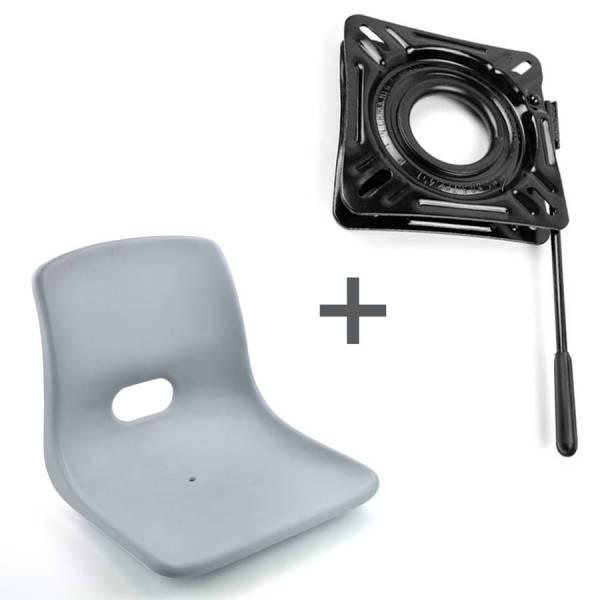Bootssitz Steuersitz Kunststoff grau + Drehkonsole mit Arretierung Bild 1
