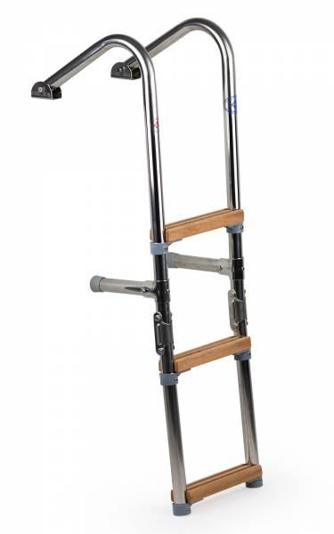 Badeleiter Bootsleiter 3 Stufen mit Handlauf Edelstahl Holz klappbar Bild 1