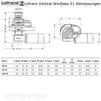Lofrans X1 Ankerwinde vertikal Ø 6 mm Kette ohne Spill Bronze verchromt 500W 12V bild 3