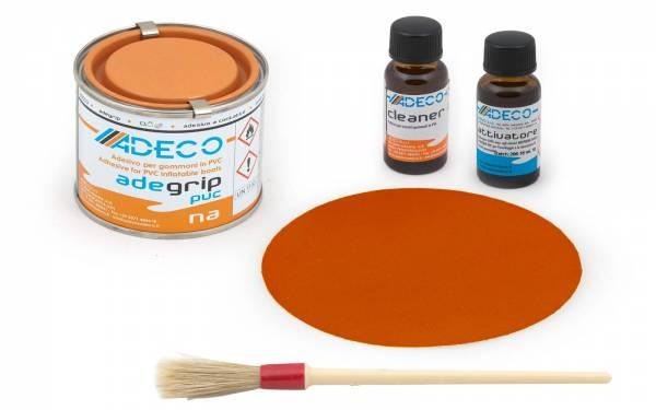 Schlauchboot-Reparatur-Set mit 2-K-Kleber für PVC / Vinyl + Flicken Orange Bild 1