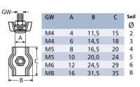 Simplex Drahtseilklemme M5 für 4 mm Seil Edelstahl Bild 6