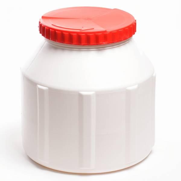 Weithalsfass 8 Liter Wasserdicht Kunststoff Weiß Deckel Rot Bild 1