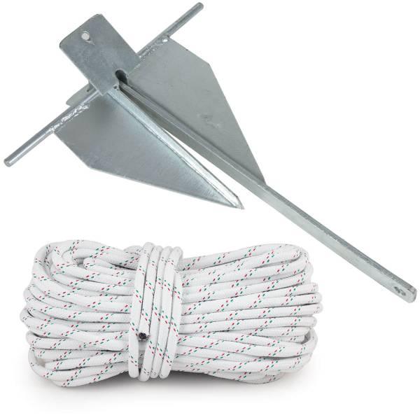 Plattenanker / Danforth Anker 4 kg Stahl verzinkt + Ankerleine 30 m Polyester bild 1