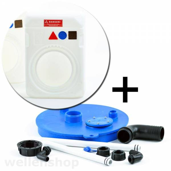 Tank 64 Liter mit Frischwasser Flanschset Kunststoff weiß Wassertank Bild 1