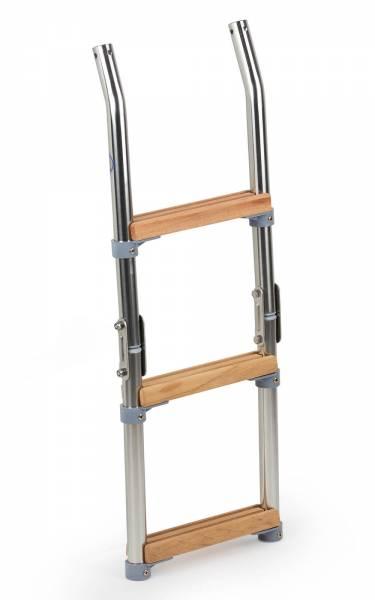Badeleiter 3 Stufen für Badeplattform klappbar Edelstahl Holz Bild 1