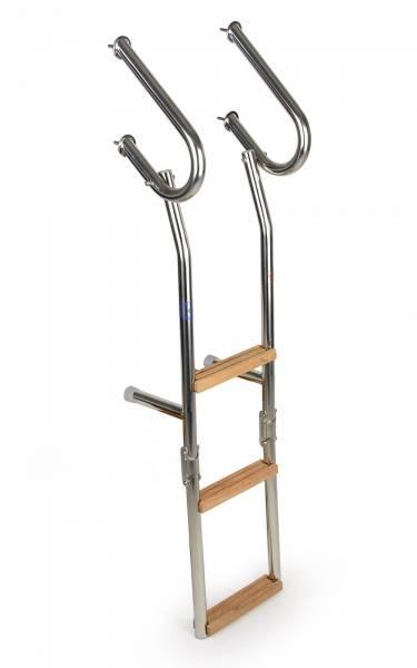 Badeleiter 3 Stufen für Badeplattform Edelstahl / Holz klappbar Bild 1