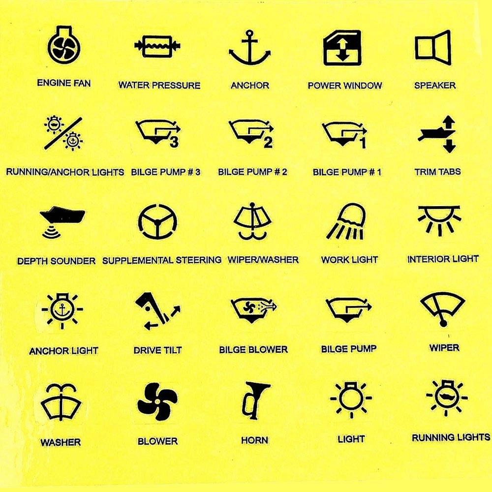 25 Symbole Etiketten für LED Schalter   Wellenshop